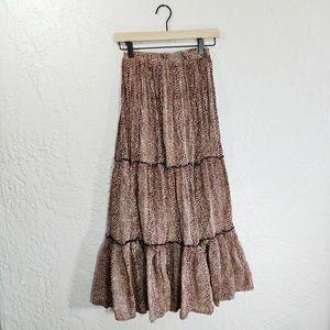 Karen Scott Leopard Print Tiered Maxi Skirt Medium